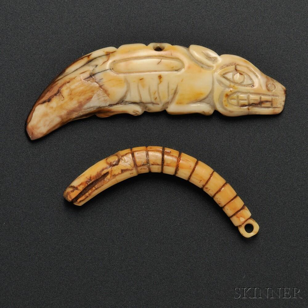 Two Northwest Coast Carved Ivory Amulets