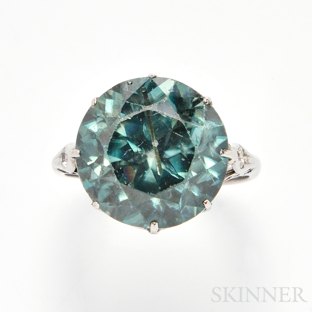 Silver and Blue Zircon Ring