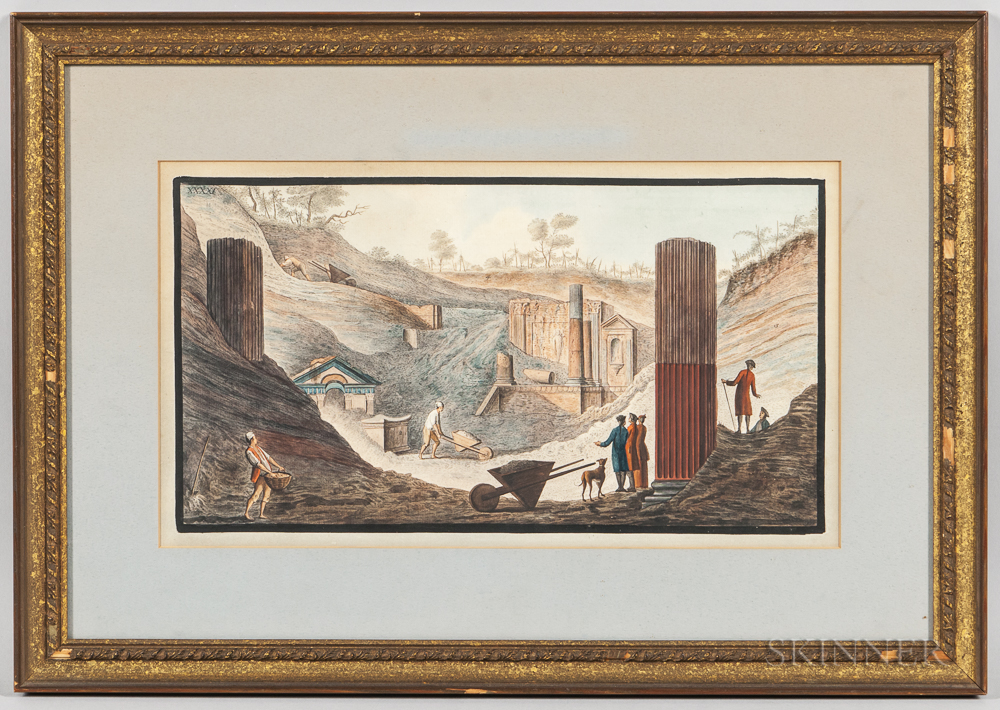 After Pietro Fabris (Italian, 1740-1792)      The Excavation of the Temple of Isis in Pompeii...