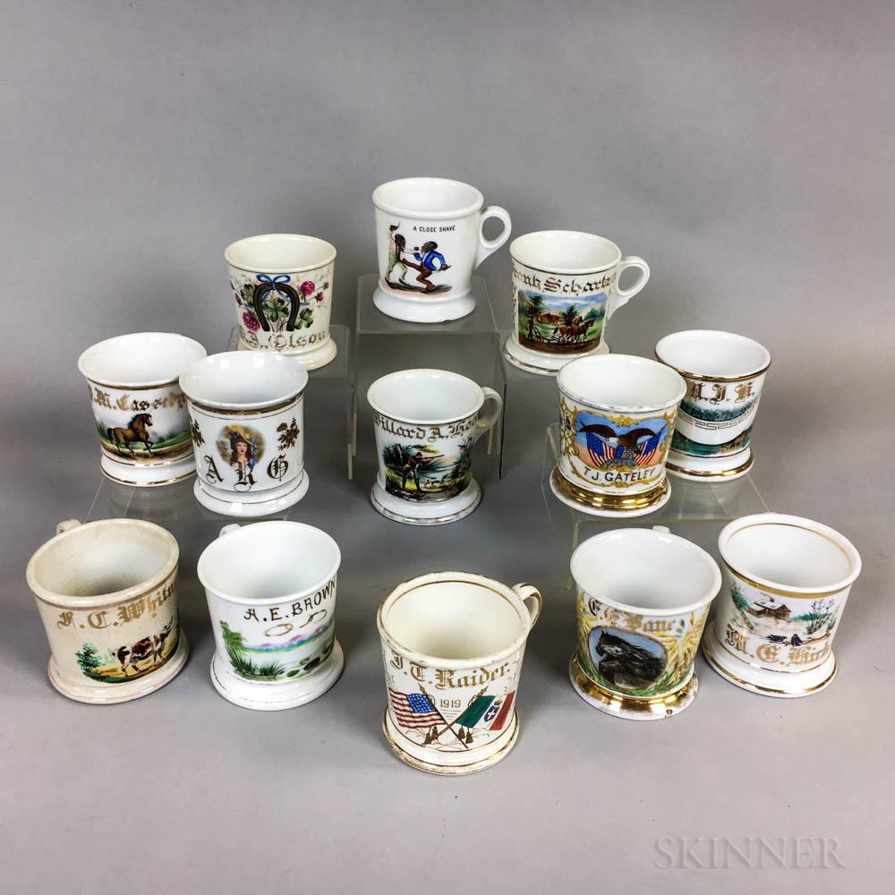 Thirteen Porcelain Shaving Mugs