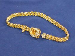 14kt Gold Rope Chain Bracelet with Diamond Buckle.