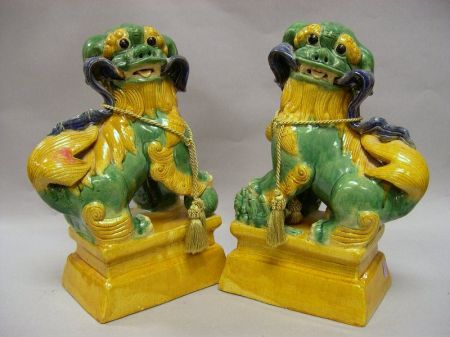Pair of Chinese Spinach and Egg Glazed Ceramic Foo Lions