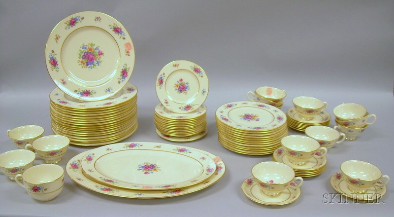 Seventy-five Piece Lenox Transfer Lenox Rose Pattern Porcelain Dinner Service.