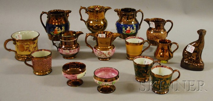 Fifteen Pieces of English Copper Lustreware