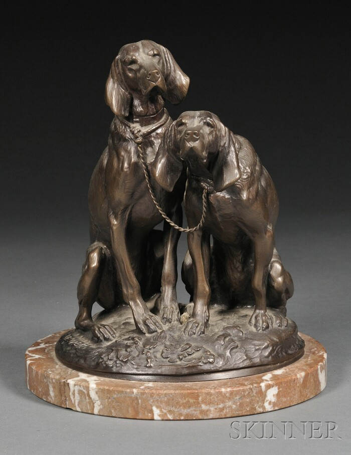 Emmanuel Frémiet (French, 1824-1910)       Bronze Figure of Two Seated Hunting Dogs