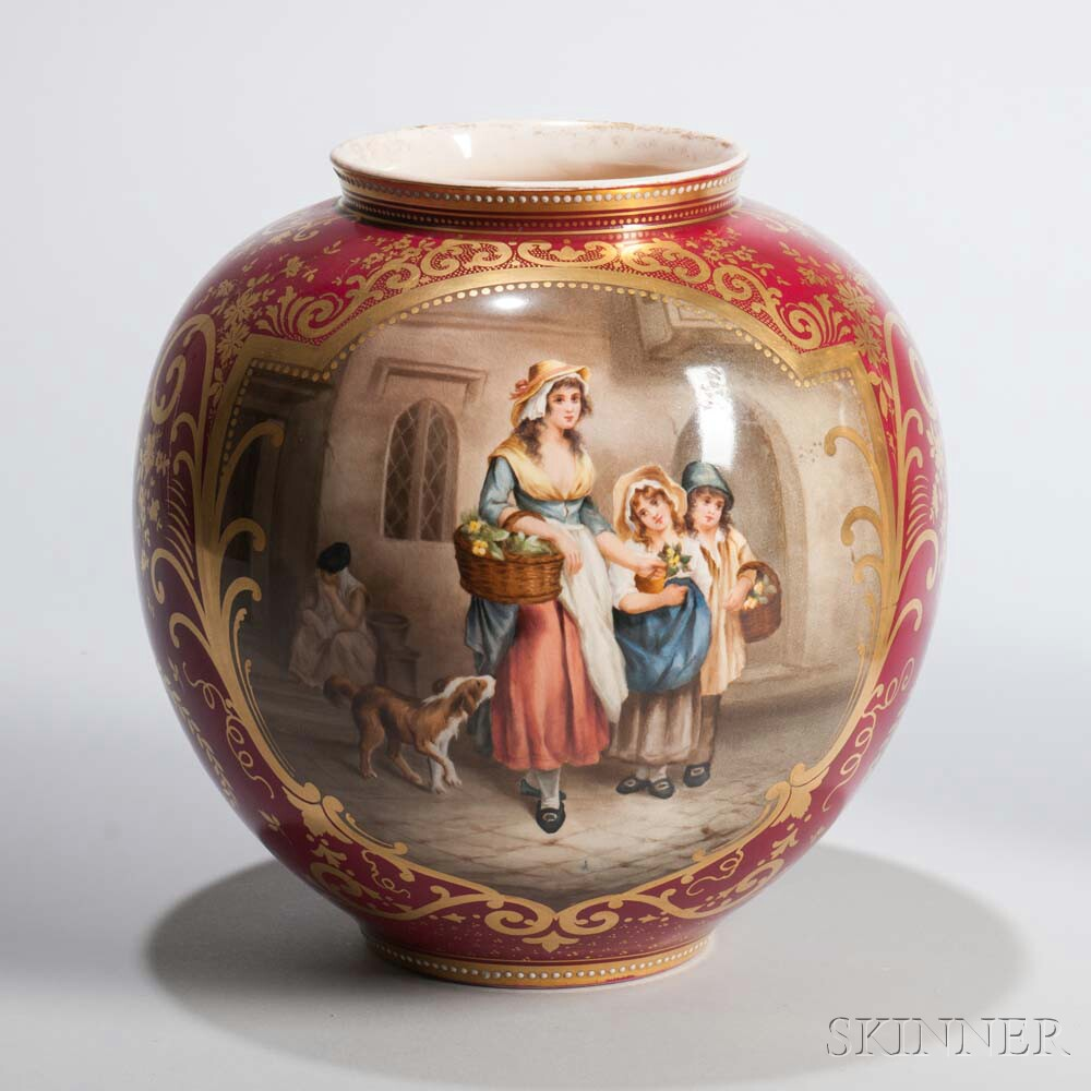 Royal Bonn Porcelain Vase Depicting a Flower Seller