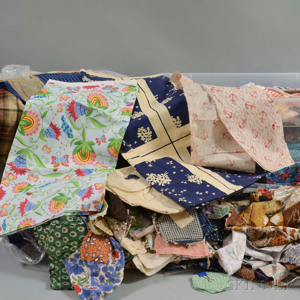 Extensive Group of Mostly Printed Cotton Fabrics, Fragments, and Linens