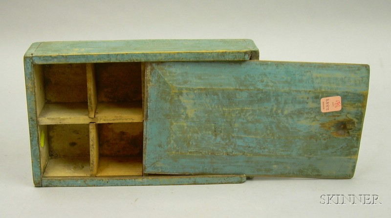 Blue-painted Pine Spice Box with Sliding Lid