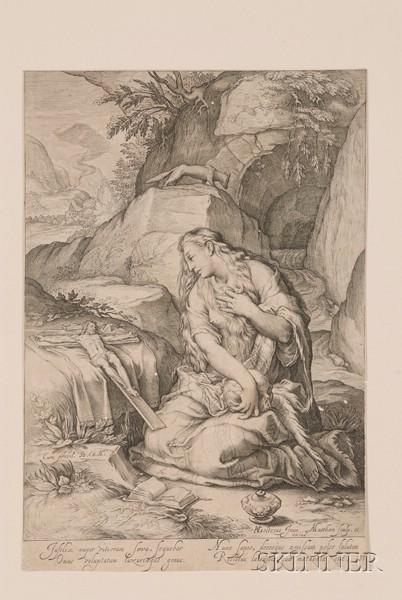 Jacob Matham (Dutch, 1571-1631), After Hendrik Goltzius (Dutch, 1558-1617)      Saint Mary Magdalene, Penitent.
