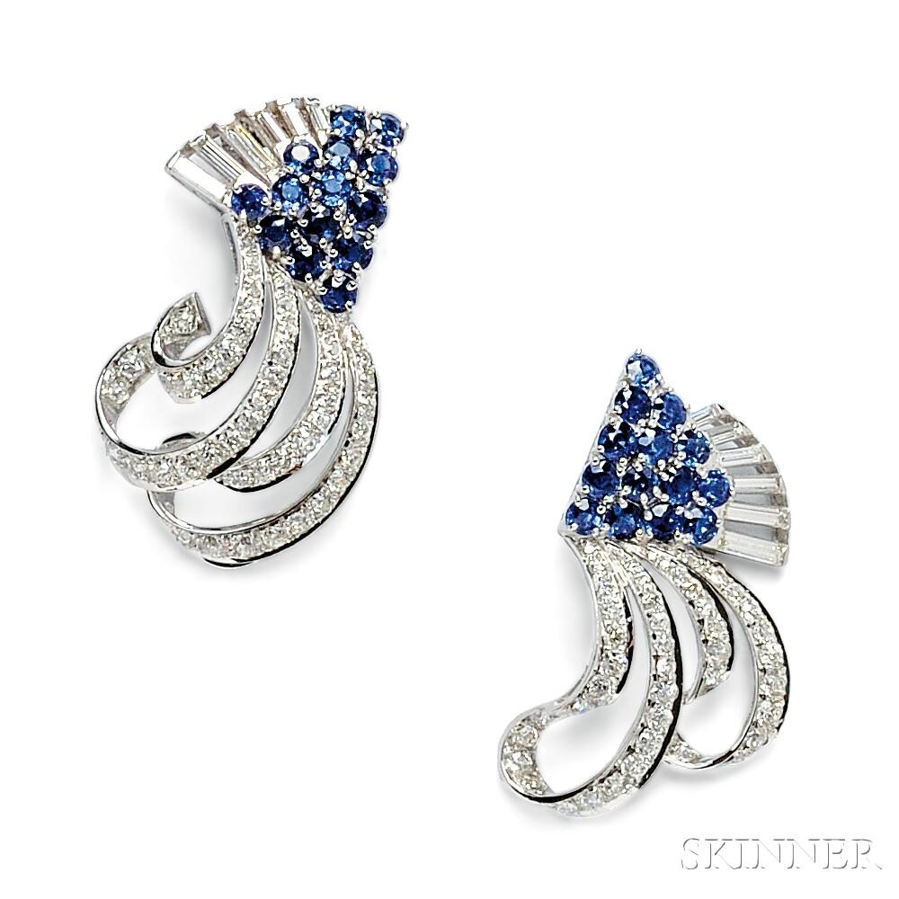 Pair of Platinum, Sapphire, and Diamond Dress Clips