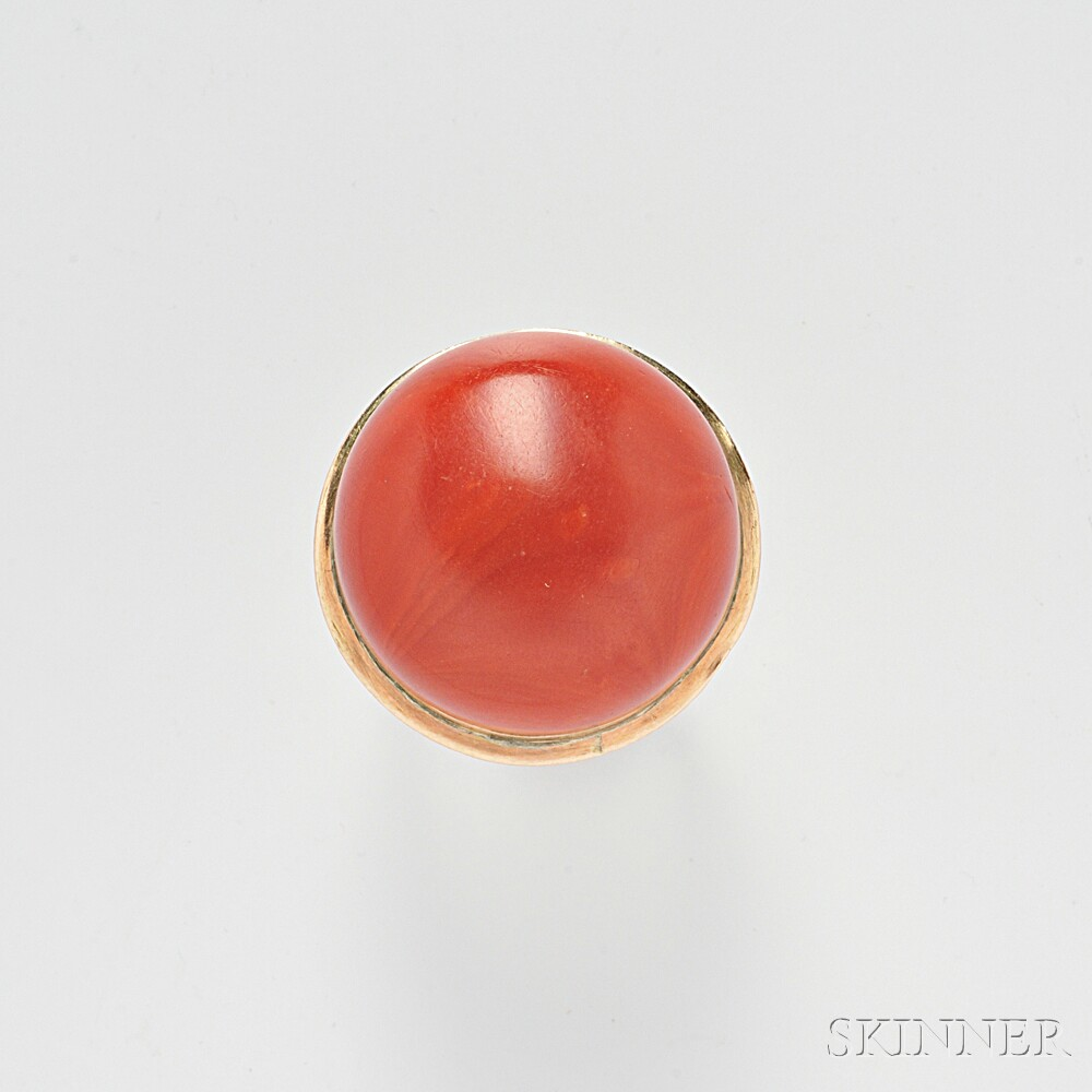 18kt Rose Gold and Coral Ring