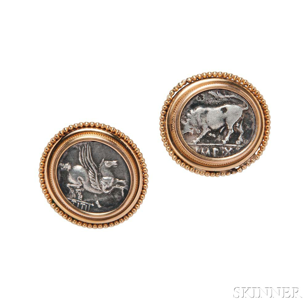 Ancient Coin Earclips