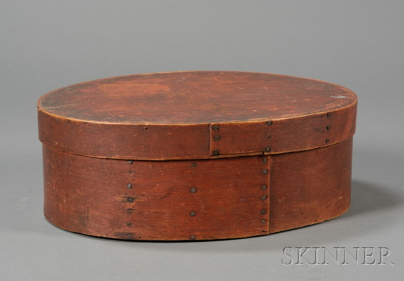 Red-stained Oval Lapped-seam Covered Pantry Box