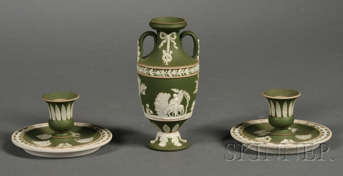 Three Wedgwood Olive Green Jasper Dip Items
