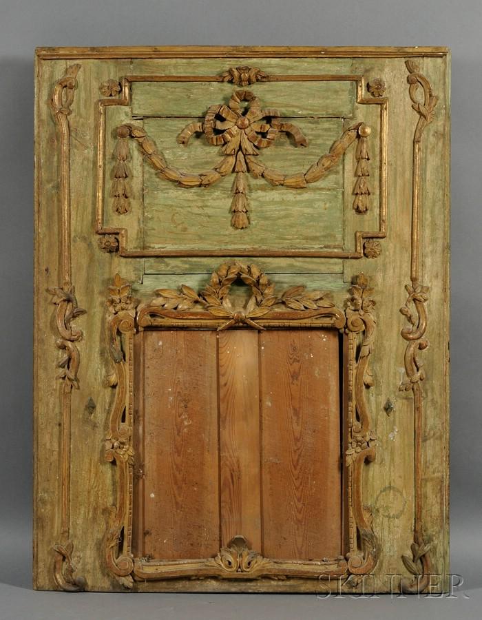 Louis XVI Green Painted and Parcel-gilt Beechwood Boiserie Panel