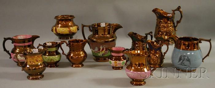 Eleven English Copper Lustreware Jug, Pitchers, and a Sugar Bowl