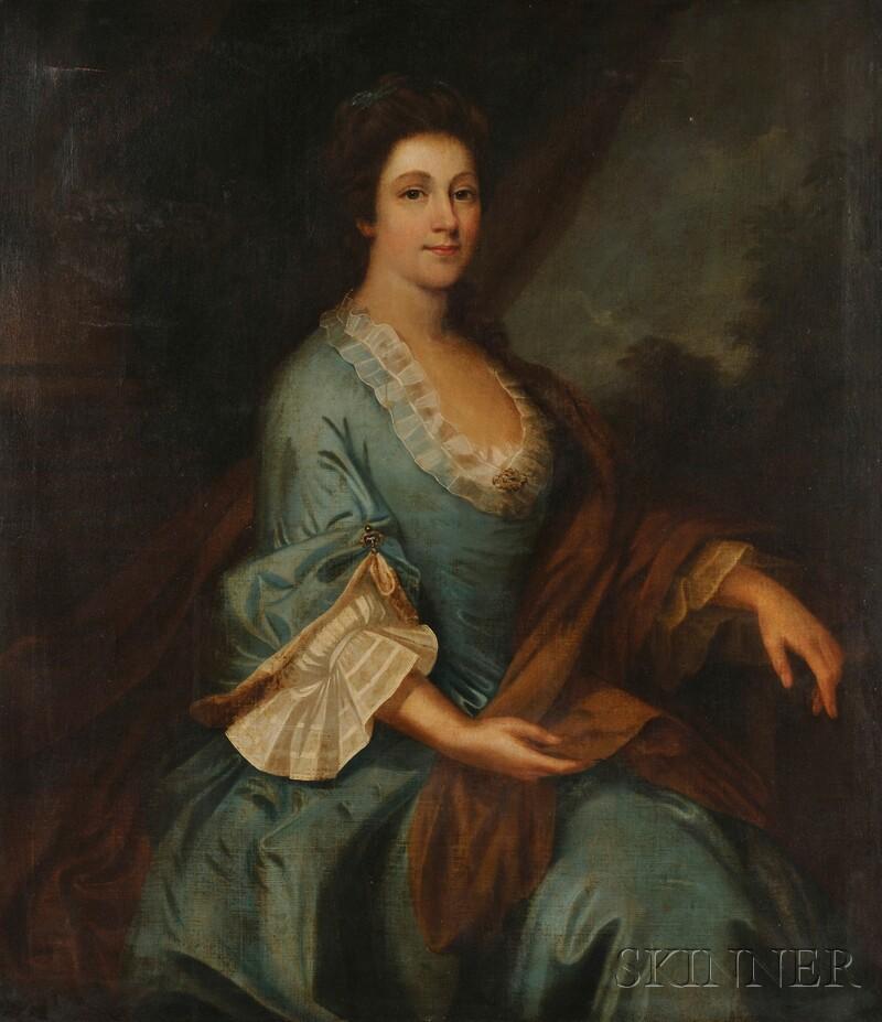 """School of William Hogarth (British, 1697-1764)      Portrait of Margaret """"Peg"""" Woffington"""