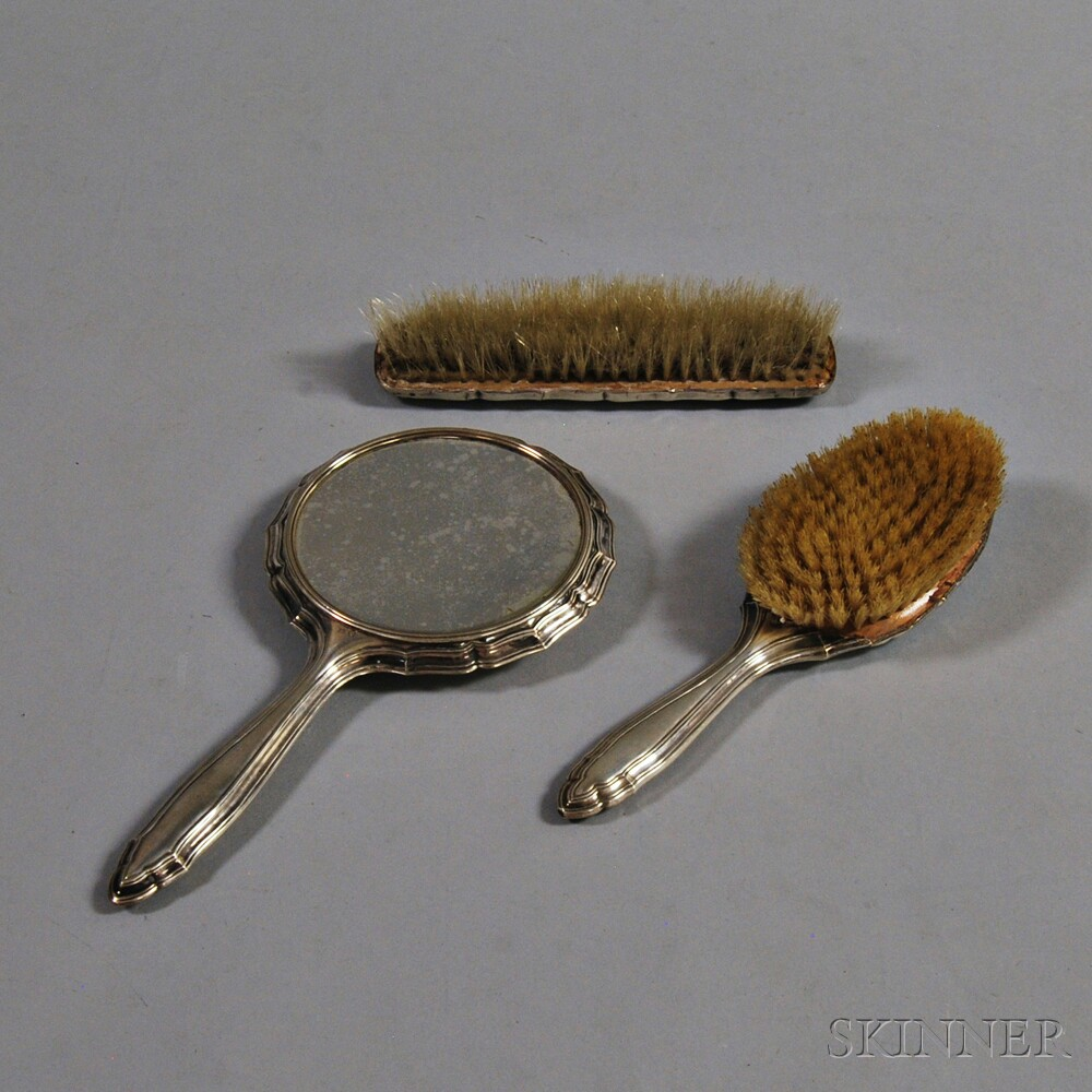 Three-piece .800 Silver Vanity Set