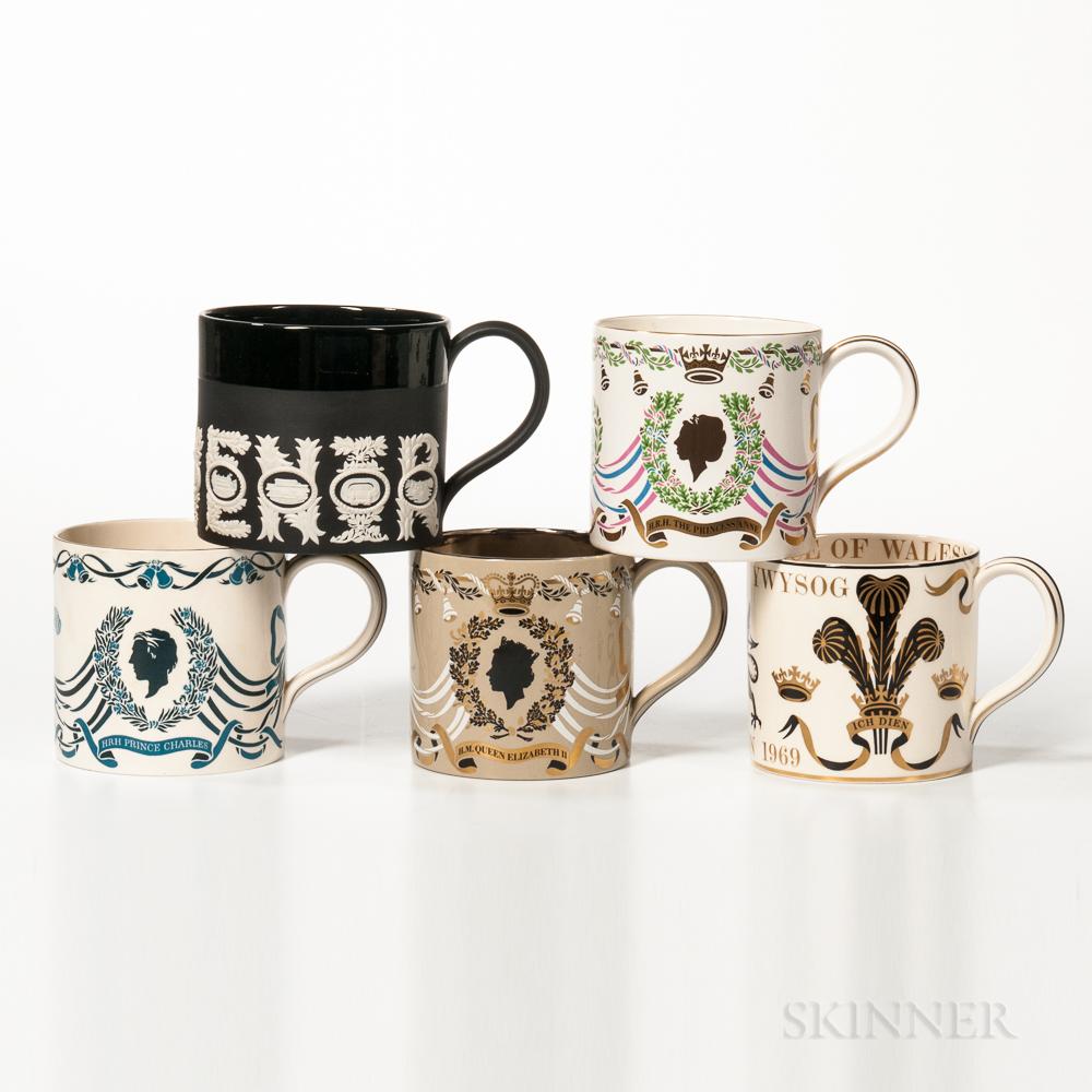 Five Wedgwood Commemorative Mugs