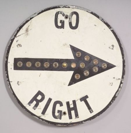 """Painted Galvanized Metal """"GO RIGHT"""" Sign"""