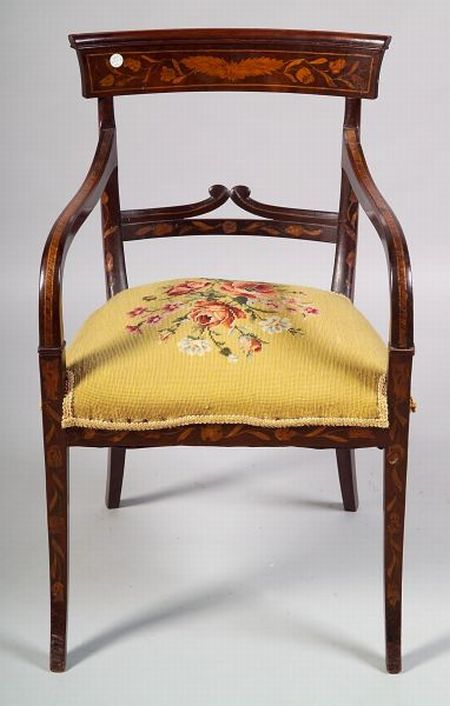 Dutch Fruitwood Marquetry Inlaid Mahogany Open Armchair