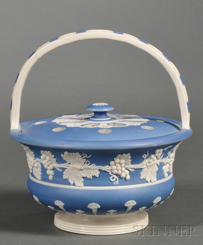 Spode Blue Dipped Stoneware Potpourri Basket and Cover