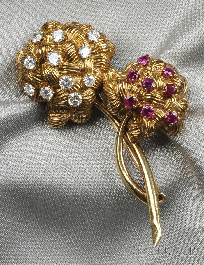 18kt Gold, Ruby, and Diamond Flower Brooch, France
