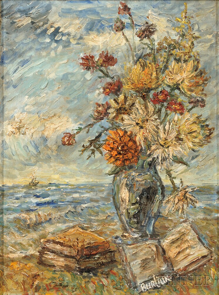 David Burliuk (American/Ukrainian, 1882-1967)      Bouquet, Book, and Sea