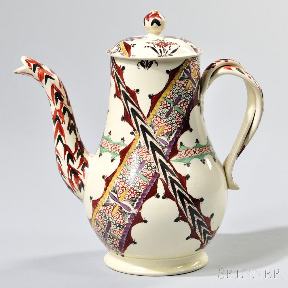 Staffordshire Creamware Chintz Pattern Coffeepot and Cover