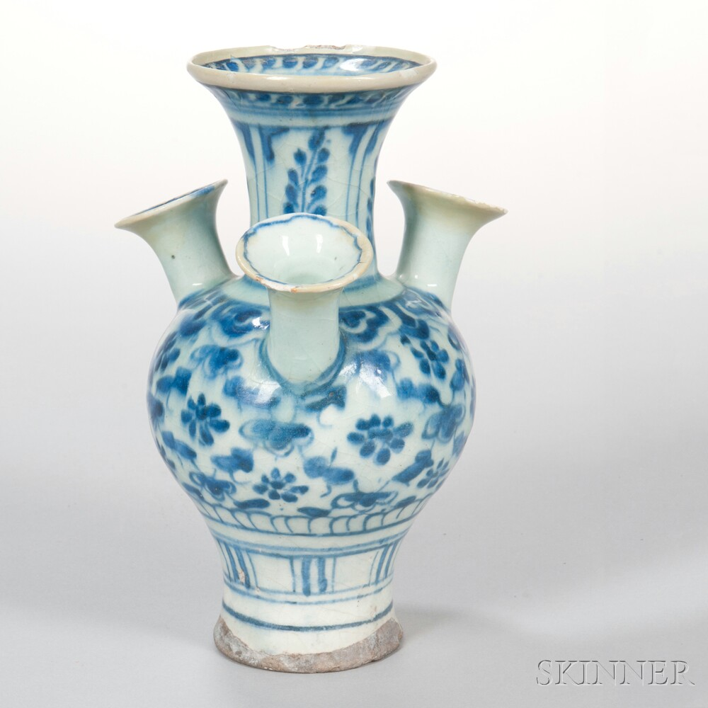 Blue and White Tulip Vase