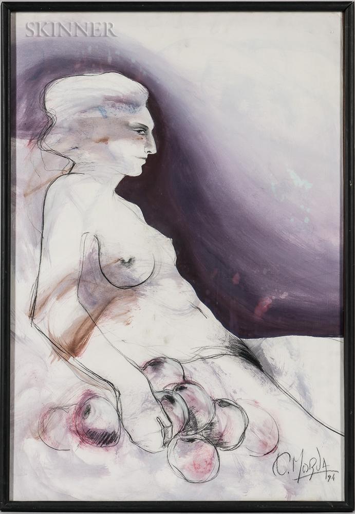 Osvaldo Morua (Argentine, 20th/21st Century)    Desnuda con Manzanas