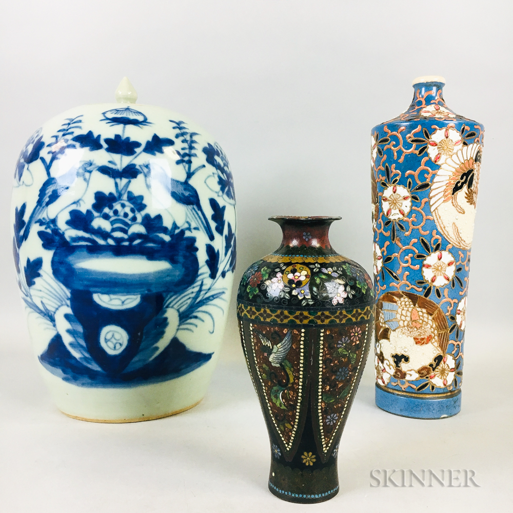 Two Ceramic Items and a Cloisonne Vase