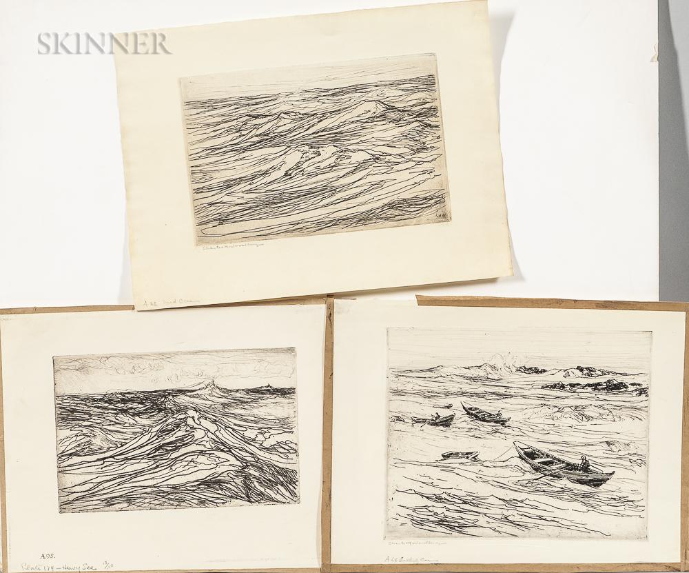 Charles Herbert Woodbury (American, 1864-1940)      Three Works: Heavy Sea