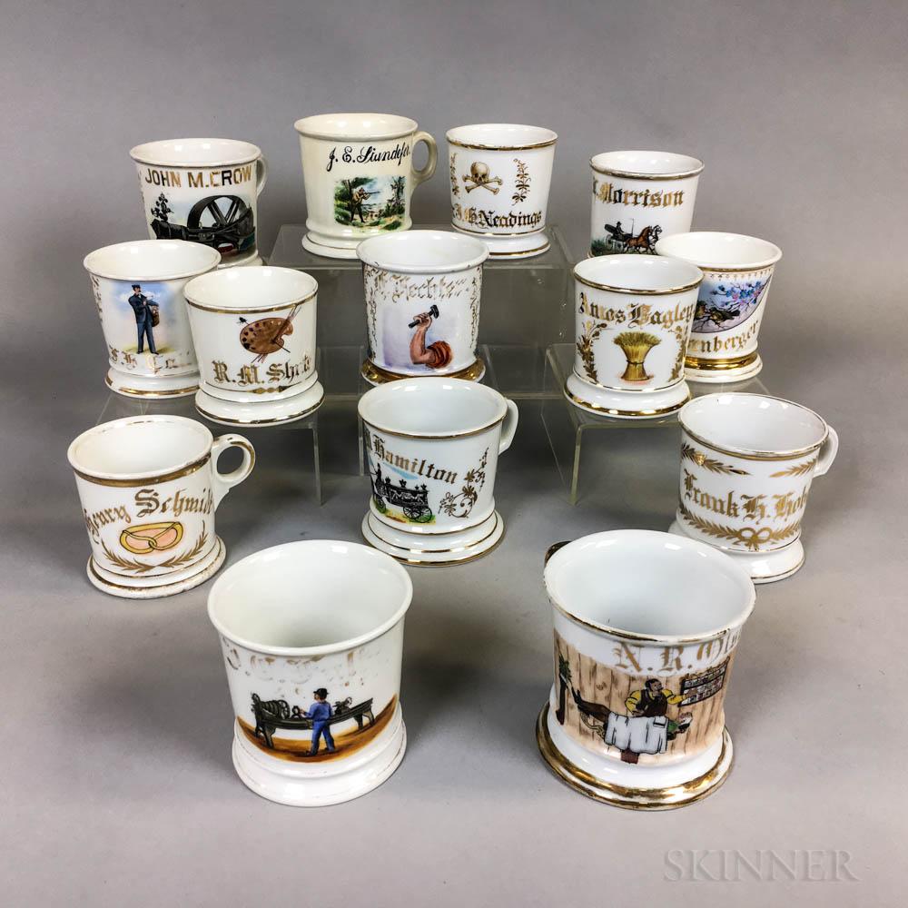 Fourteen Porcelain Shaving Mugs