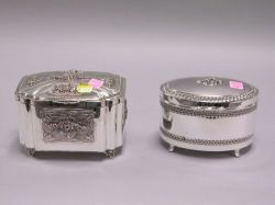 Two Sterling Silver Footed Boxes.