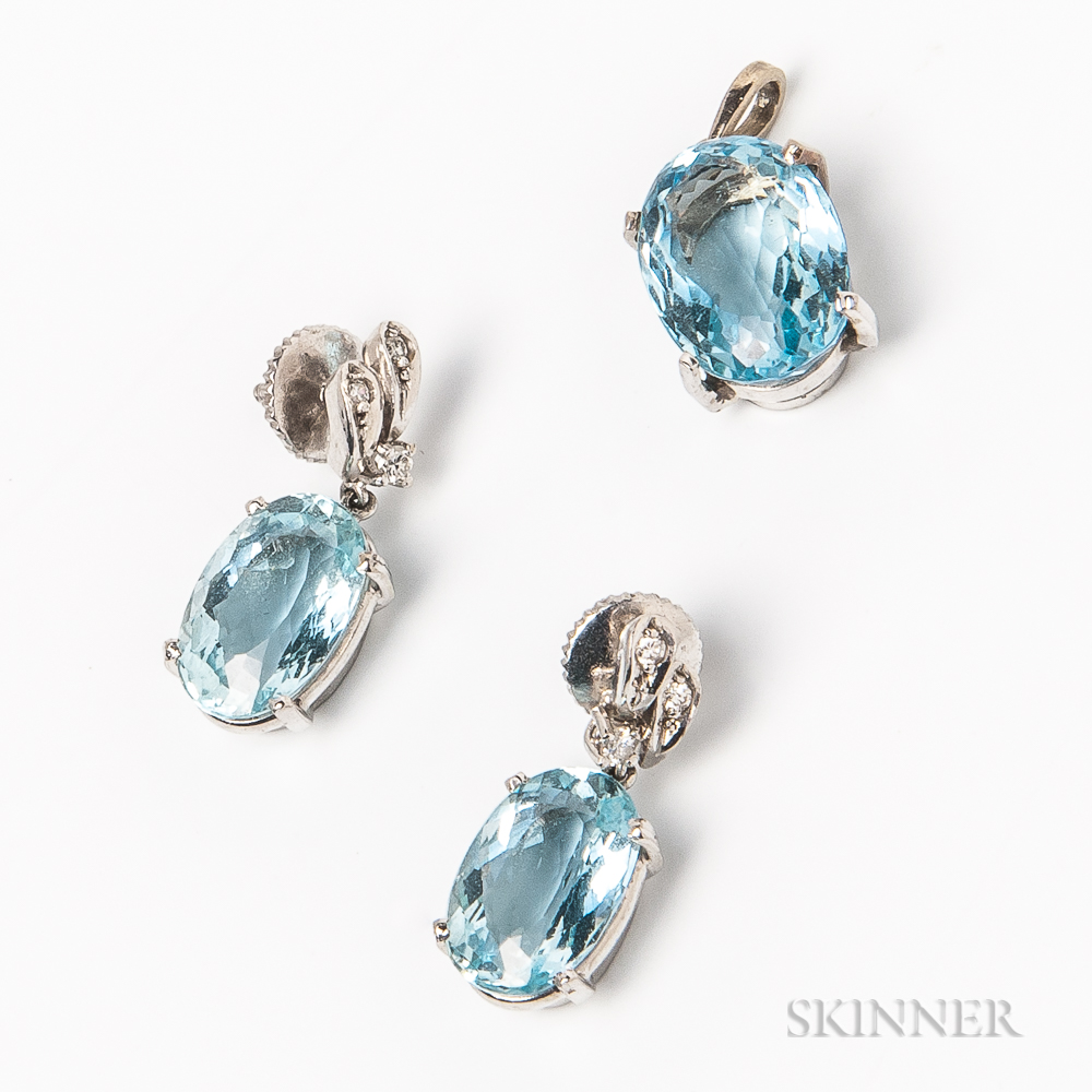 18kt White Gold and Aquamarine Earring and Pendant