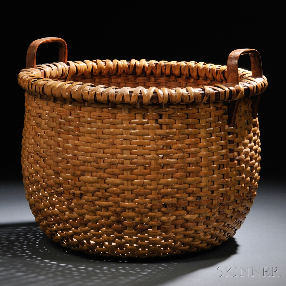 Large Round Wicker Baskets With Handle : Large woven rattan nantucket basket sale number b