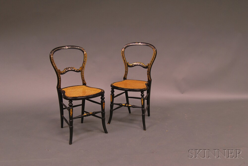 Pair of Victorian Black-painted, Gilt-decorated, and Mother-of-pearl-inlaid Cane   Seat Side Chairs