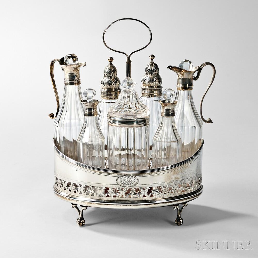 George IV Sterling Silver-mounted Cruet Set