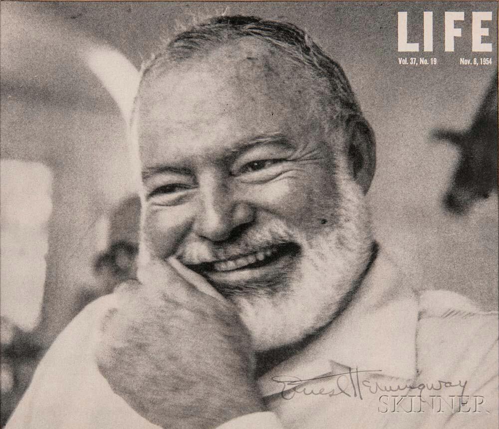 Hemingway, Ernest (1899-1961) Signed Photo, c. 1954.