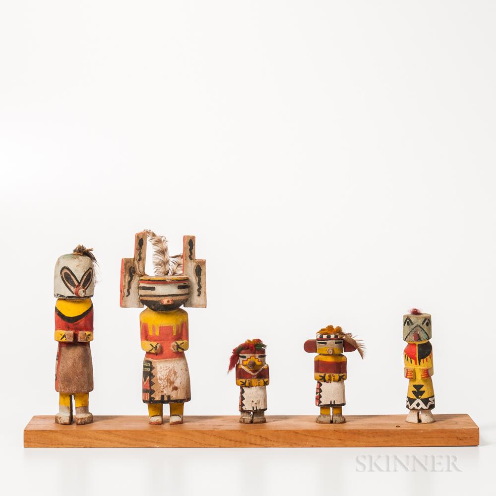 Five Hopi Polychrome Carved Wood Katsina Dolls