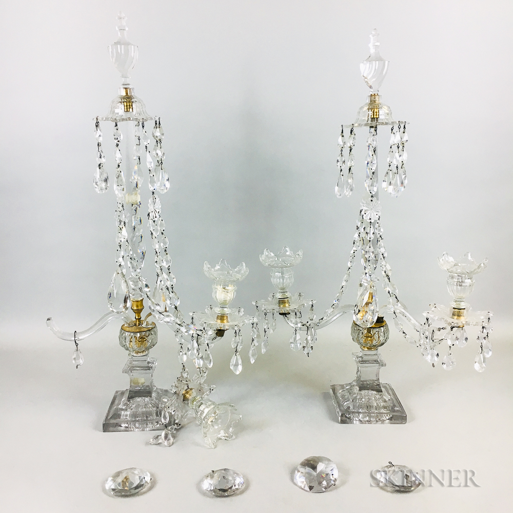 Pair of Regency Glass Girandoles