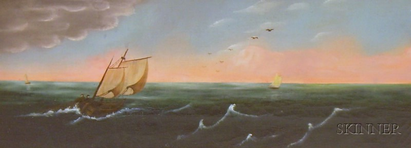 American School, 19th Century      Sailing Vessels with Storm Approaching.