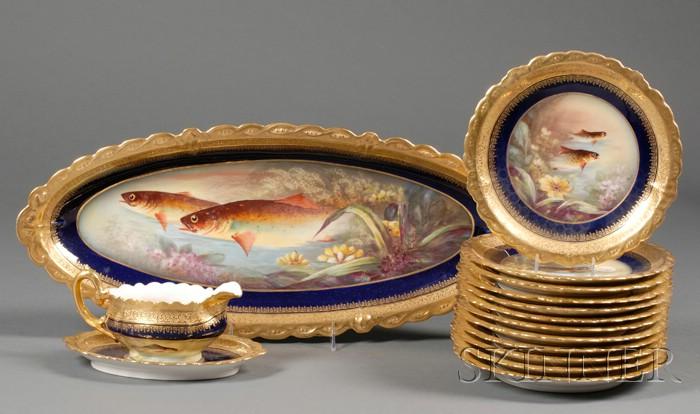 Fourteen Piece Limoges Porcelain Fish Service