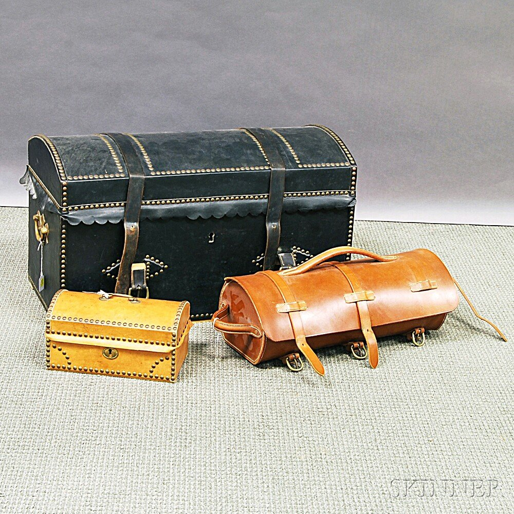 Leather Dome-top Trunk, Box, and Valise