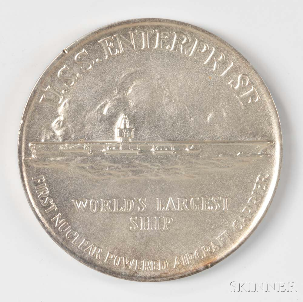 Medallic Art Co. Silver-plated Bronze Commemorative Medal for the U.S.S. Enterprise  .
