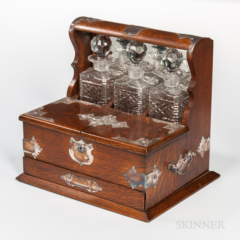 Silver-mounted Oak Tantalus