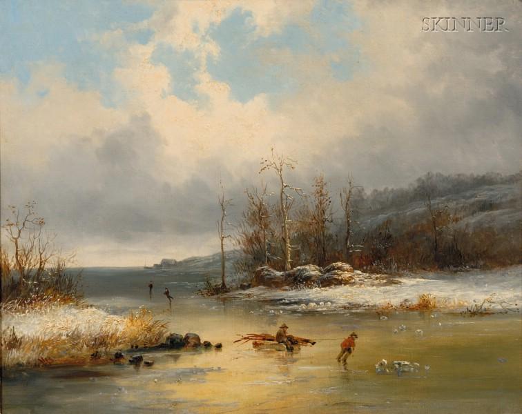 Attributed to Cornelius David Krieghoff (Canadian, 1815-1872)      Winter River Scene