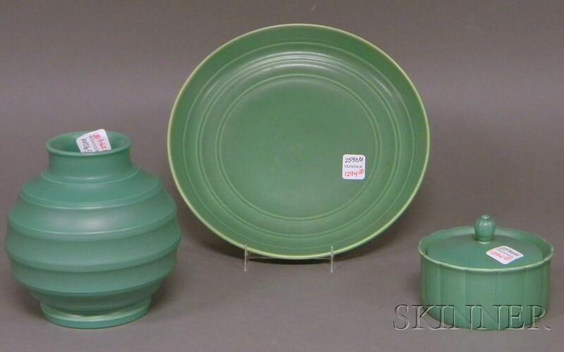 Three Wedgwood Keith Murray Design Matte Green Slip-glazed Items