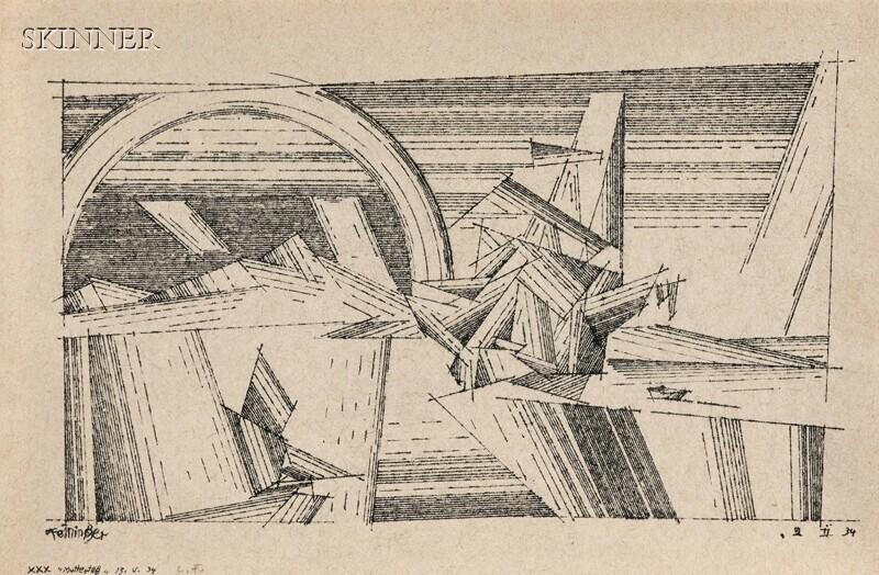Lyonel Feininger (American, 1871-1956)      Sailing Vessels and Rainbow